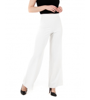 Pantalone Donna Lungo Tinta Unita Bianco Zampa Elastico GIOSAL