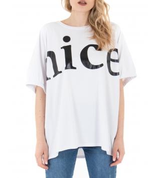 T-shirt Donna Bianca Scritta Girocollo Maniche Corte Casual GIOSAL