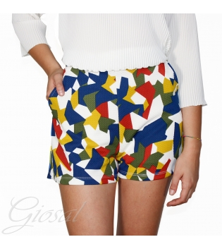 Pantalone Corto Donna Shorts Pantaloncino Colorato Tasche L'Altra Faccia GIOSAL