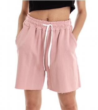 Shorts Donna Bermuda Tuta Tinta Unita Rosa Elastico Coulisse GIOSAL