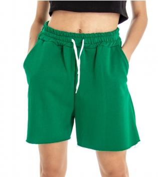 Shorts Donna Bermuda Tuta Tinta Unita Verde Elastico Coulisse GIOSAL