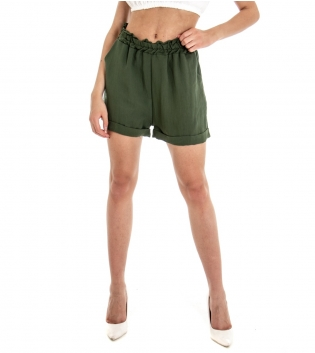 Shorts Donna Pantalone Corto Pantaloncino Tinta Unita Verde Viscosa GIOSAL-Verde-TAGLIA UNICA