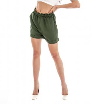 Shorts Donna Pantalone Corto Pantaloncino Tinta Unita Verde Viscosa GIOSAL