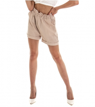Shorts Donna Pantalone Corto Pantaloncino Tinta Unita Beigre Viscosa GIOSAL