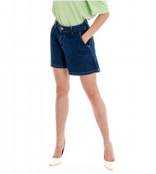 Shorts Donna Pantaloncino Corto Jeans Denim Scuro Tasca America GIOSAL