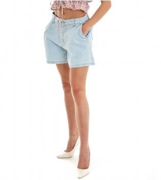 Shorts Donna Pantaloncino Corto Jeans Denim Chiaro Tasca America GIOSAL