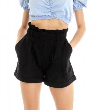Shorts Donna Pantaloncino Corto Tinta Unita Nero Cotone GIOSAL