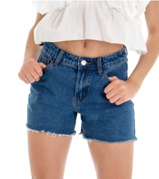 Shorts Donna Pantaloncino Corto Jeans Denim Cinque Tasche GIOSAL