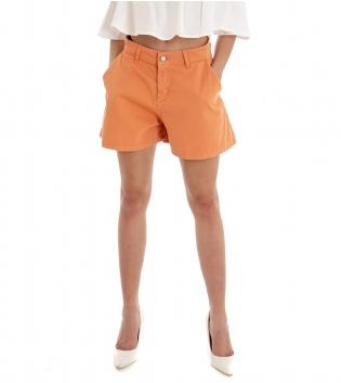 Shorts Donna Pantaloncino Corto Tinta Unita Arancio Tasca America GIOSAL