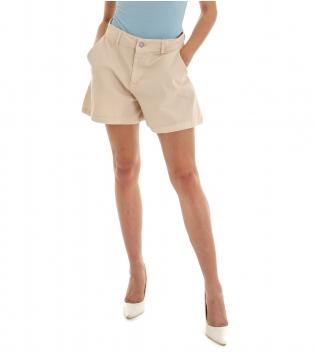 Shorts Donna Pantaloncino Corto Tinta Unita Panna Tasca America GIOSAL