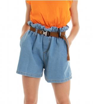 Shorts Donna Pantaloncino Corto Denim Chiaro Caramella Elastico Ampio GIOSAL