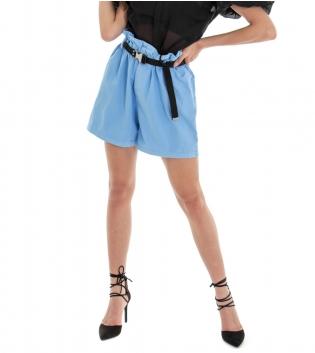 Shorts Donna Pantaloncino Corto Tinta Unita Azzurro Caramella Elastico Ampio GIOSAL