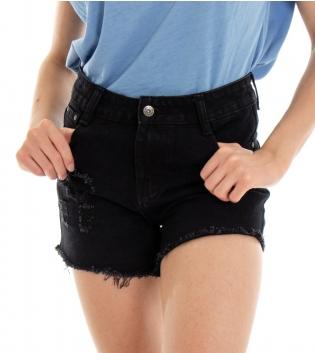 Shorts Donna Pantaloncino Corto Jeans Nero Rotture Cinque Tasche GIOSAL