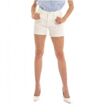 Shorts Donna Pantaloncino Corto Jeans Denim Panna Cinque Tasche GIOSAL