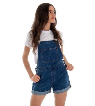Salopette Jeans Denim Blu Corta Shorts GIOSAL