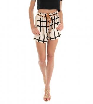 Shorts Donna Pantaloncino Quadri Beige Corto Elastico GIOSAL