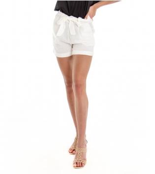 Shorts Donna Tinta Unita Bianco Pantaloncino Corto Elastico Tasche America GIOSAL