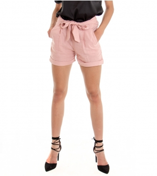 Shorts Donna Tinta Unita Rosa Pantaloncino Corto Elastico Tasche America GIOSAL