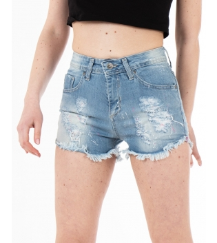 Pantalone Donna Shorts Corto Denim Rotture Macchie di Pittura GIOSAL