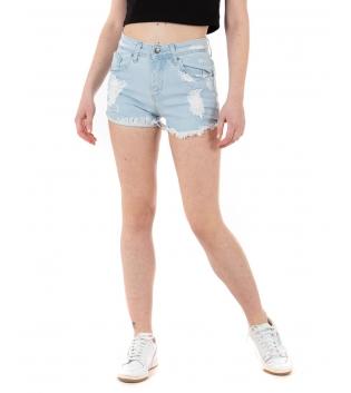 Pantalone Donna Shorts Corto Denim Chiaro Rotture Vita Media Casual GIOSAL