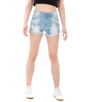 Pantalone Donna Shorts Corto Denim Rotture Sfrangiato Cinque Tasche GIOSAL