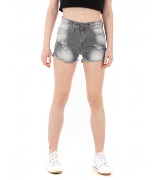 Pantalone Donna Shorts Corto Denim Grigio Rotture Sfumature Sfrangiato GIOSAL