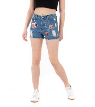 Pantalone Donna Shorts Corto Patches Denim Rotture Macchie di Pittura GIOSAL