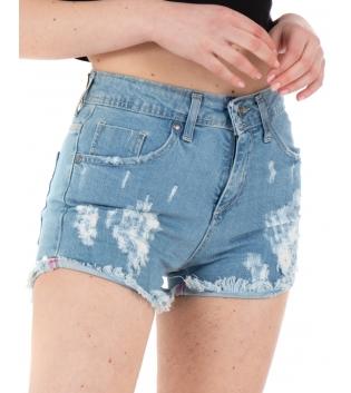 Pantalone Donna Shorts Corto Sfrangiato Denim Rotture Cinque Tasche GIOSAL