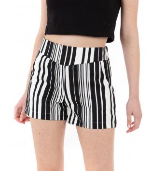 Pantalone Donna Shorts Fantasia Righe Bianco Nero Rigato Vita Alta GIOSAL