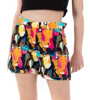 Pantalone Donna Shorts Fantasia Geometrica Multicolore Vita Alta GIOSAL