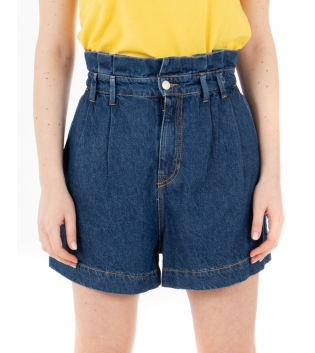 Shorts Donna Eiki Pantalone Baggy Denim Scuro Tasca America Elastico GIOSAL