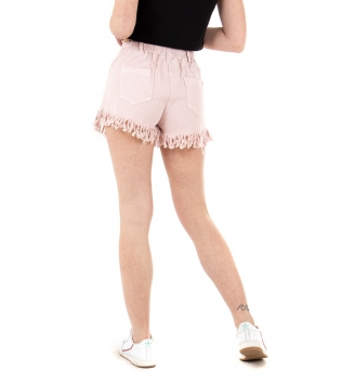 Shorts Donna Pantalone Corto Sfrangiato Vita Media Elastico Tinta Unita Rosa GIOSAL