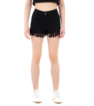 Shorts Donna Pantalone Corto Sfrangiato Vita Media Elastico Tinta Unita Nero GIOSAL