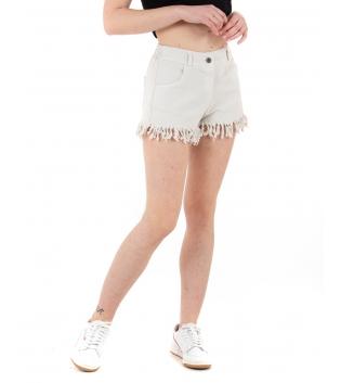 Shorts Donna Pantalone Corto Sfrangiato Vita Media Elastico Tinta Unita Beige GIOSAL-Beige-TAGLIA UNICA