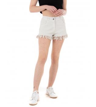 Shorts Donna Pantalone Corto Sfrangiato Vita Media Elastico Tinta Unita Beige GIOSAL
