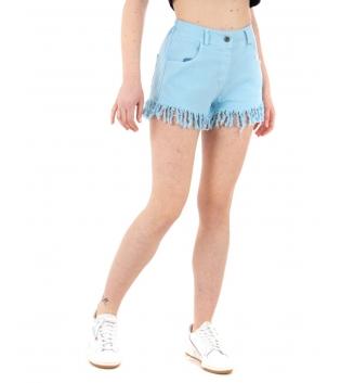 Shorts Donna Pantalone Corto Sfrangiato Vita Media Elastico Tinta Unita Celeste GIOSAL