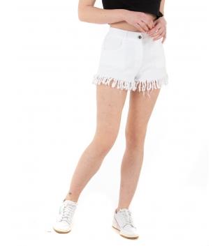 Shorts Donna Pantalone Corto Sfrangiato Vita Media Elastico Tinta Unita Bianco GIOSAL