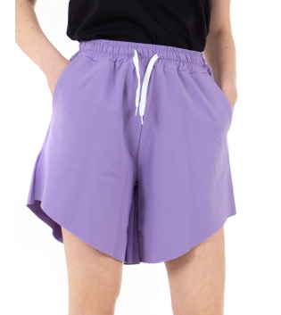 Pantalone Donna Shorts Tuta Tinta Unita Lilla Elastico Asimmetrico GIOSAL