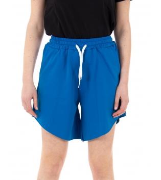 Pantalone Donna Shorts Tuta Tinta Unita Blu Royal Elastico Asimmetrico GIOSAL
