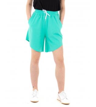Pantalone Donna Shorts Tuta Tinta Unita Verde Acqua Elastico Asimmetrico GIOSAL