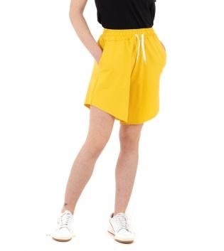 Pantalone Donna Shorts Tuta Tinta Unita Giallo Elastico Asimmetrico GIOSAL