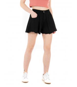 Shorts Donna Pantaloncino Corto Tinta Unita Nero Campana Casual GIOSAL