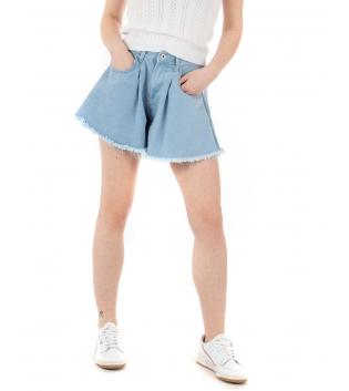 Shorts Donna Pantaloncino Corto Tinta Unita Denim Campana Casual GIOSAL