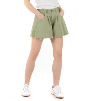 Shorts Donna Pantaloncino Corto Tinta Unita Verde Campana Casual GIOSAL-Verde-TAGLIA UNICA