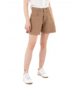 Shorts Donna Pantalone Bermuda Tinta Unita Camel Campana GIOSAL