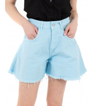Shorts Donna Pantalone Bermuda Tinta Unita Celeste Campana GIOSAL