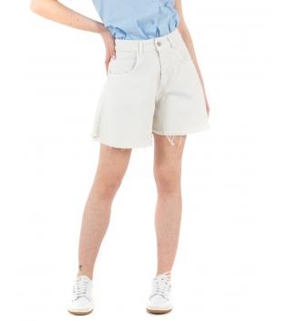 Shorts Donna Pantalone Bermuda Tinta Unita Panna Campana GIOSAL