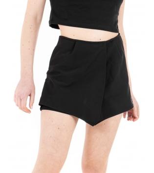 Shorts Donna Corto Tinta Unita Nero Corto Casual GIOSAL