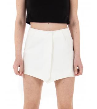 Shorts Donna Corto Tinta Unita Bianco Corto Casual GIOSAL