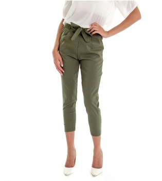 Pantalone Donna Lungo Tinta Unita Verde Elastico Tasca America GIOSAL-Verde-S